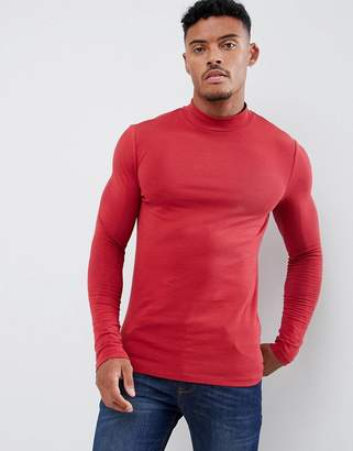 9cac5314d8 Asos Design DESIGN muscle fit long sleeve turtleneck t-shirt with stretch  in red