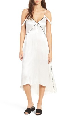 Women's Line & Dot Dita Contrast Piping Zip Front Slipdress $119 thestylecure.com