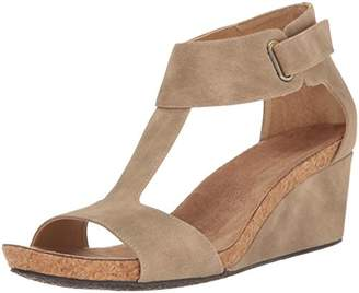 Adrienne Vittadini Footwear Women's Trellis Footbed T-Strap Wedge Sandal $89 thestylecure.com