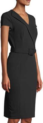 Iconic American Designer Belted Cap-Sleeve Career Dress