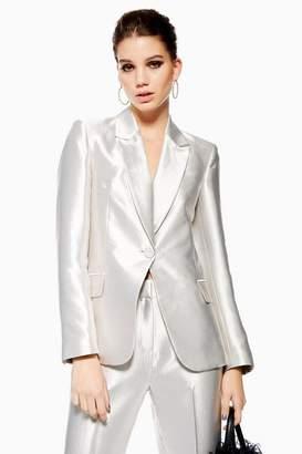 Topshop Womens Petite Satin Suit Jacket
