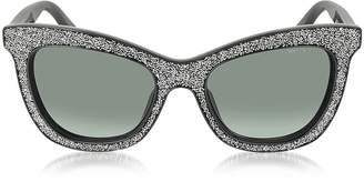 0af8b744e1d Jimmy Choo FLASH S F18HD Black Silver Glitter Women s Sunglasses
