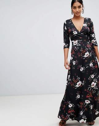 Liquorish floral print maxi wrap dress