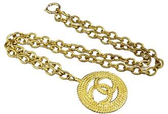 Chanel Coco Mark Gold Tone Metal Pendant Necklace