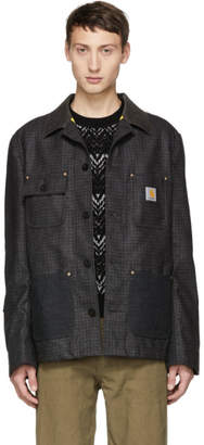 Junya Watanabe Grey and Black Carhartt Edition Wool Twill Jacket