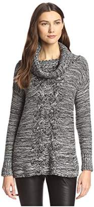 James & Erin Women's Tweed Cowl Neck Sweater