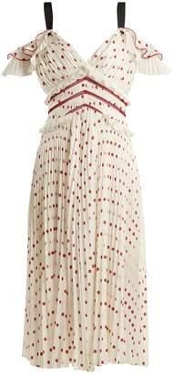 Self-Portrait Polka-dot pleated dress