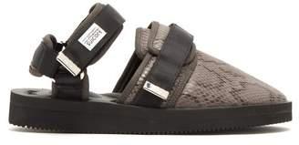 Suicoke Snake Effect Velcro Sandals - Mens - Black