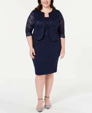 Alex Evenings Plus Size Sequined Lace Jacket & Shift Dress