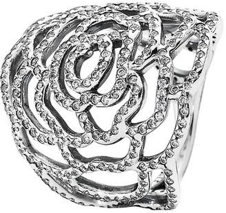 Pandora Silver Cz Rose Ring
