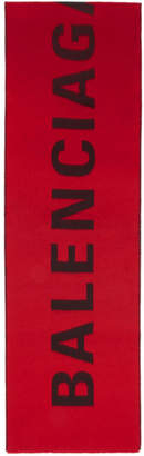 Balenciaga Red and Black Logo Scarf