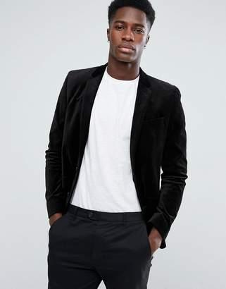 Asos Design Unstructured Slim Blazer In Black Velvet