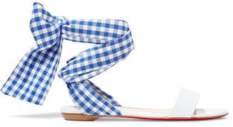 Christian Louboutin Sandale Du Desert Leather And Gingham Canvas Sandals - White