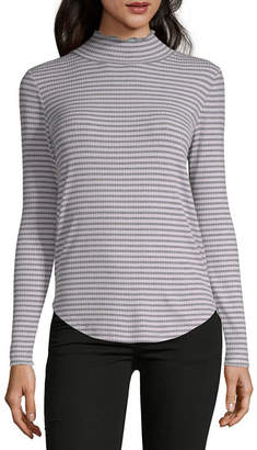 Liz Claiborne Long Sleeve Turtleneck Stripe T-Shirt-Womens