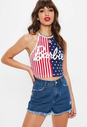 Missguided x Navy American Flag Halter Crop Top