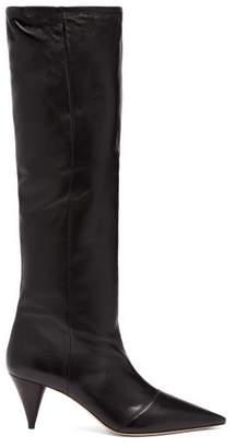 Miu Miu Knee High Leather Boots - Womens - Black