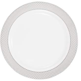 "Kaya Collection - Disposable White with Silver Diamond Rim Plastic Round 7.5"" Salad/Dessert Plates (120 Plates)"