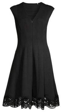 Elie Tahari Hedi Front-Zip Cap Sleeve Dress