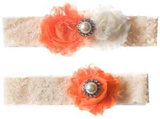 The Pink Bunny Garters and Ivory Shabby Flower Wedding Garter Set