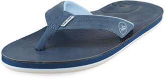 Peter Millar Hari Mari x Men's Leather Thong Sandals, Navy