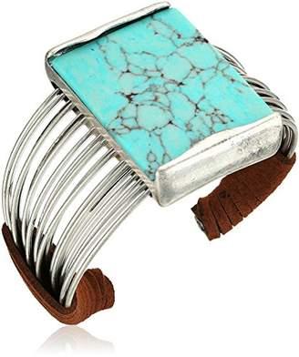 Robert Lee Morris Mosaic Semiprecious Stone Multi Row Cuff Bracelet