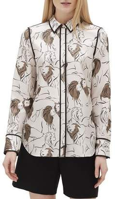 Lafayette 148 New York Plus Size Scottie Italia Leo-Print Button-Front Silk Blouse