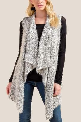 francesca's Talulla Drape Front Sweater Vest - Black/White