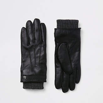 River Island Black leather lined gloves
