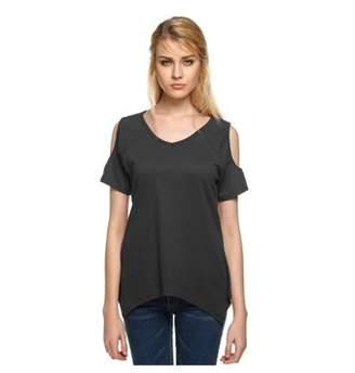 Fienjo Women Summer Short Sleeve Shirts Open Back Crochet Lace Loose Tops Blouse