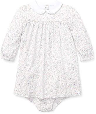 Ralph Lauren Long-Sleeve Floral Dress w/ Matching Bloomers, Size 6-24 Months