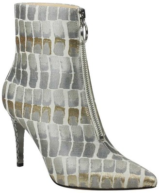 J. Renee Embossed Heel Front Zip Booties - Pinerola