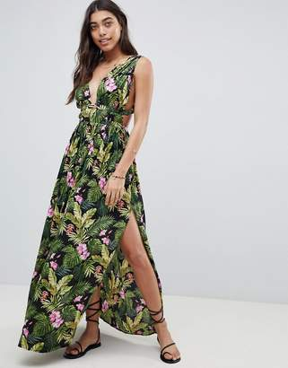 27c6fea85c Asos Design DESIGN Grecian Plunge Maxi Woven Beach Dress in Hibiscus Print