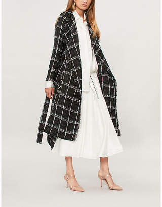 Roland Mouret Kennedy checked waist-tie woven coat