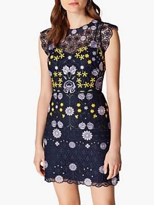 Karen Millen Floral Embroidery Mini Dress, Multi