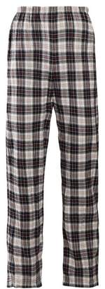 Balenciaga Checked High Rise Brushed Cotton Trousers - Womens - White Black