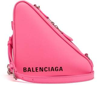 Balenciaga Triangle Pochette S Leather Bag - Womens - Pink