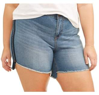 A3 Denim Women's Plus High Low Shorts With Double Shadow Stripe