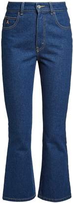 ATTICO High-rise kick-flare cropped jeans