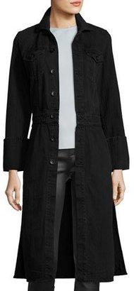 Helmut Lang Washed Denim Button-Front Trenchcoat, Black $520 thestylecure.com