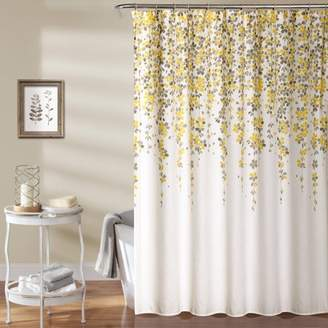 Lush Decor Weeping Flower Shower Curtain Yellow/Gray