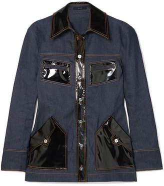 Ellery Spector Pvc-trimmed Denim Jacket - Indigo