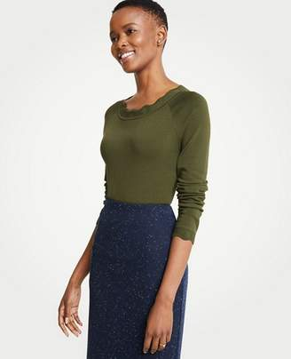 Ann Taylor Scalloped Sweater