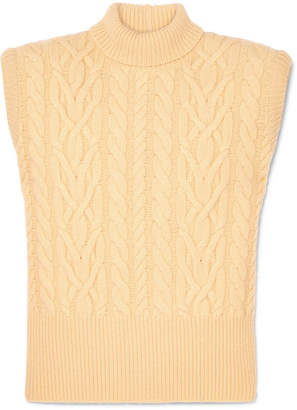 Cable-knit Wool Turtleneck Sweater - Pastel yellow