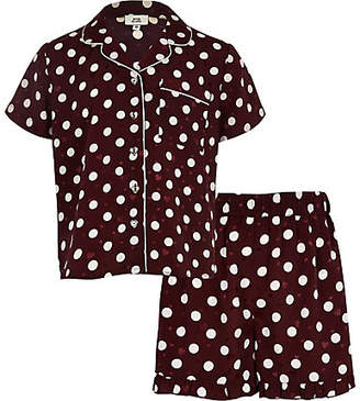 River Island Girls red polka dot satin pajama set