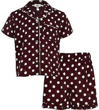 River Island Girls Red polka dot satin pyjama set