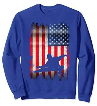 USA Vintage American Flag Tai Chi Martial Arts Sweatshirt