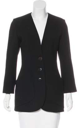 Lanvin Collarless Wool Coat