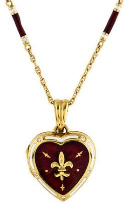 Faberge 18K Diamond & Enamel Heart Locket Necklace