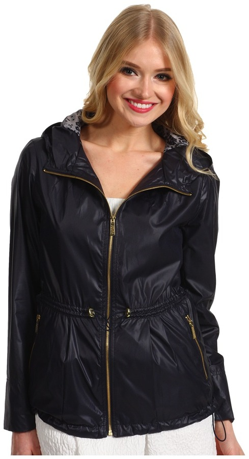 Ivanka Trump Short Coated Poly Anorak (Navy) - Apparel