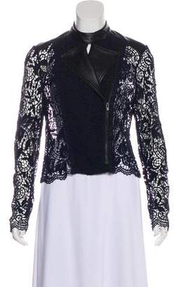 Yigal Azrouel Lace Leather Jacket